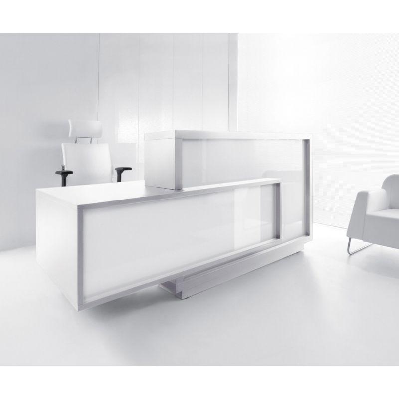 Foro Reception Desk, Right-Handed Counter, White