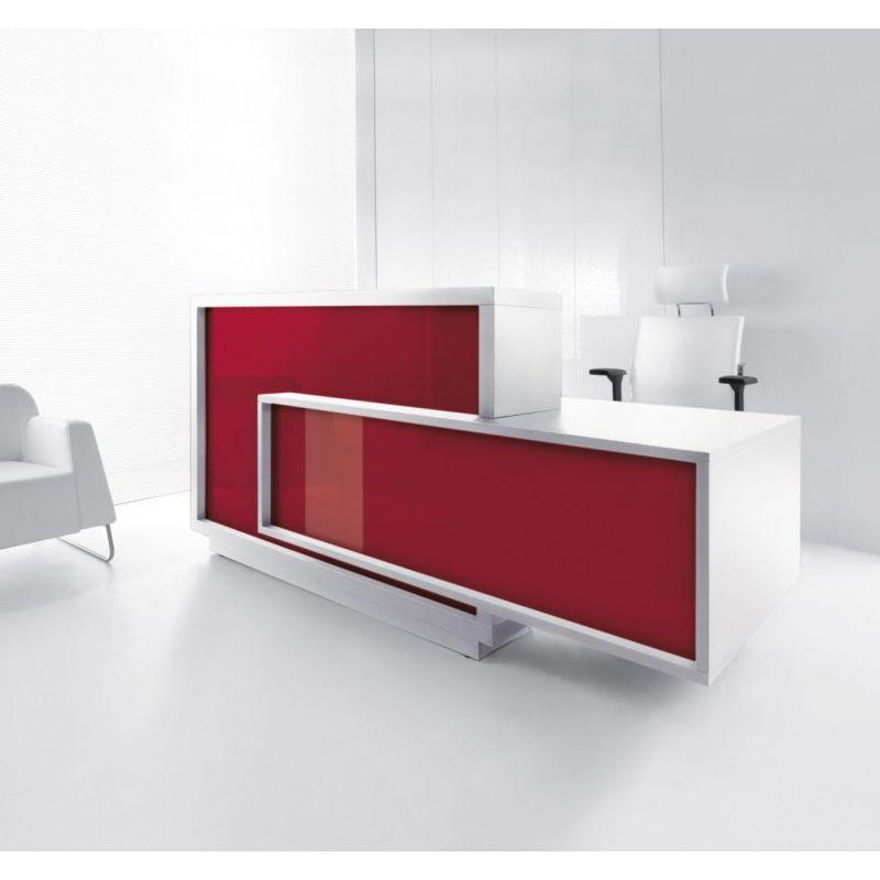 Foro Reception Desk Left-Handed Counter, Burgundy/White
