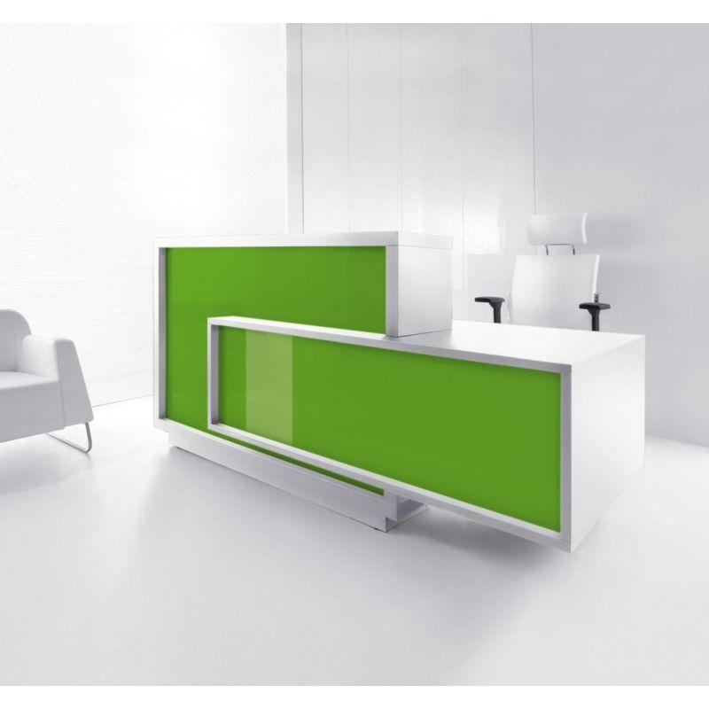 Foro Reception Desk, Left-Handed Counter, Lime/White