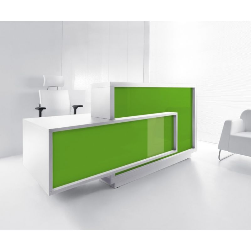 Foro Reception Desk, Right-Handed Counter, Lime /White