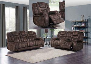 U1706 Power Reclining Living Room Set, Chocolate