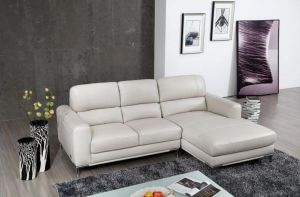 Crosby Leather Sectional, Right Hand Chase, Bone