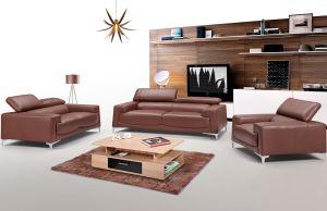 2537 Leather Living Room Set, Saddle Brown