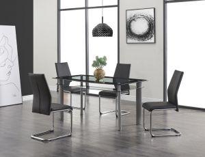 D1058DT W/D41DC Black Dining Room Set