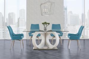 D9002DT w/D4878DC Turquoise Swivel Chairs, Dining Room Set