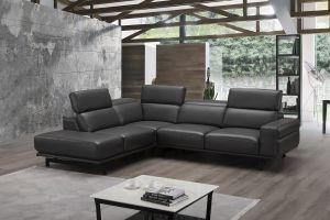 Davenport Premium Leather Sectional, Left Hand Chase, Slate Grey