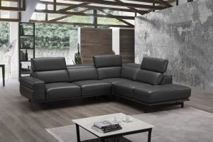 Davenport Premium Leather Sectional, Right Hand Chase, Slate Grey