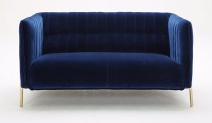 Deco Fabric Loveseat, Blue