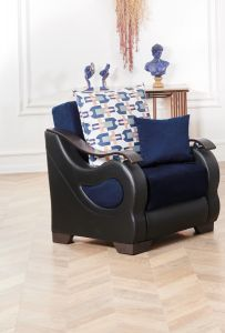 Florida Chair, Navy Blue/Brown