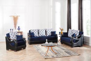 Florida Living Room Set, Navy Blue/Brown