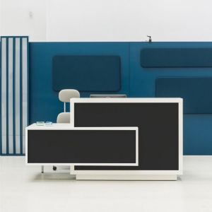 Foro Reception Desk, Right-Handed Counter, Anthracite/White