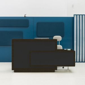 Foro Reception Desk, Left-Handed Counter, Anthracite/Chestnut