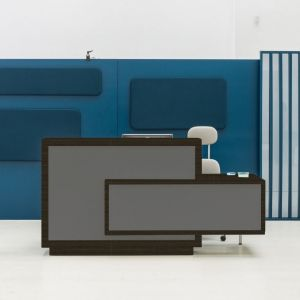 Foro Reception Desk, Left-Handed Counter, Grey/Chestnut