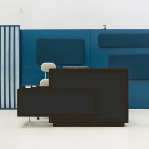 Foro Reception Desk, Right-Handed Counter, Anthracite/Chestnut