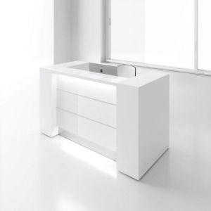 VALDE LAV01L Reception Desk, White High Gloss