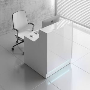 Linea LIN13 Reception Desk, White High Gloss