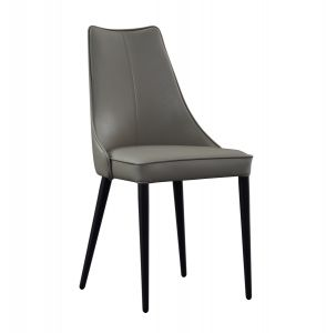Milano Leather Dining Chair, Light Grey, Set of 2
