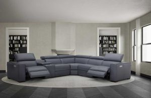 Picasso Top Grain Leather Motion Sectional Sofa, Blue Grey