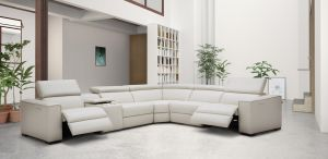 PIcasso Top Grain Leather Motion Sectional Sofa, Silver Grey