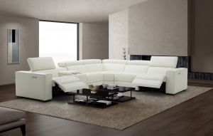Picasso Top Grain Leather Motion Sectional Sofa, White