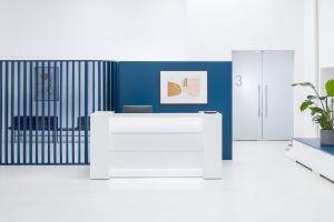 VALDE LAV03L Reception Desk, White High Gloss