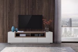 TV002 TV Stand, White High Gloss + Grey Veneer