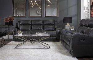 U131 Reclining 3pcs Living Room Set, Charcoal Gray