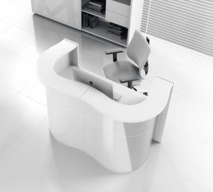 Wave LUV22 Modern Reception Desk, White