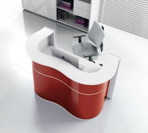 Wave LUV22 Modern Reception Desk, Red