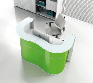 Wave LUV22 Modern Reception Desk, Green