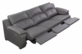 Thompson Sofa 3 Recliners, Grey