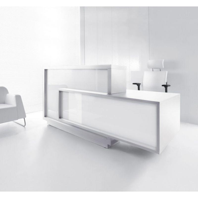Foro Reception Desk, Left-Handed Counter, White