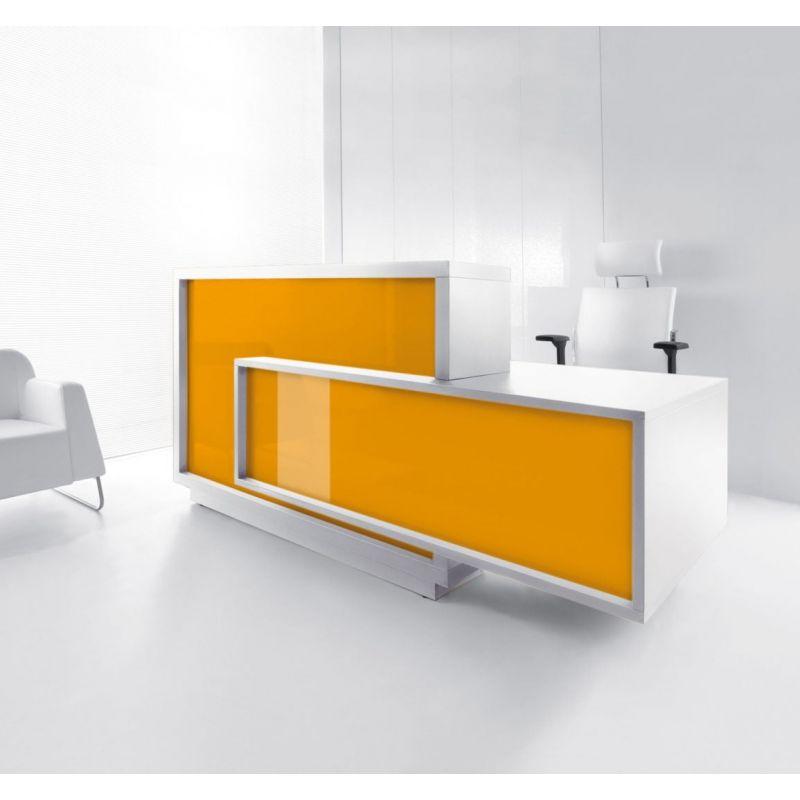 Foro Reception Desk, Left-Handed Counter, Orange/White