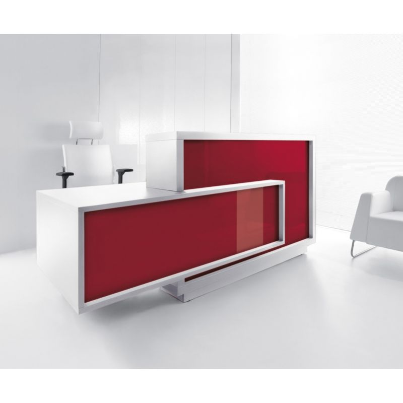 Foro Reception Desk, Right-Handed Counter, Burgundy/White