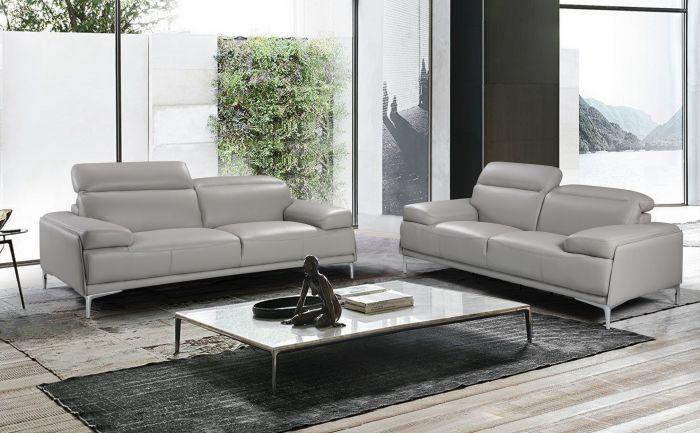 Nicolo Leather Sofa Light Grey