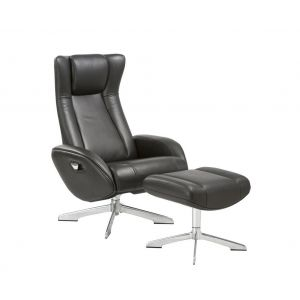 Maya Chair and Ottoman, Black
