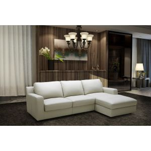 Lauren Premium Leather Sleeper Sectional, Right Hand Chase