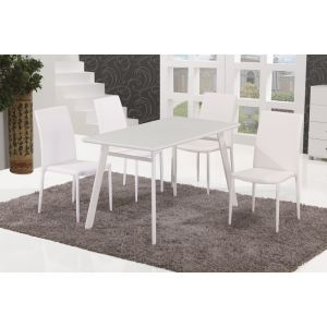 B24 Dining Table & DC13 Dining Chairs (White)
