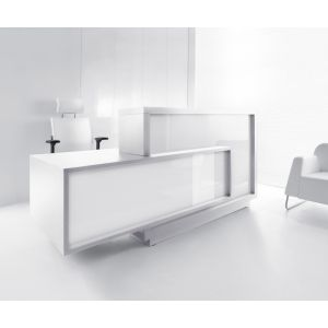 Foro Reception Desk, Right-Handed Counter, White