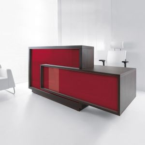 Foro Reception Desk, Left-Handed Counter, Burgundy/Chestnut