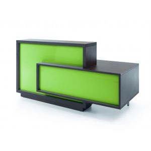 Foro Reception Desk, Left-Handed Counter, Lime/Chestnut