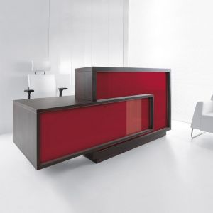 Foro Reception Desk, Right-Handed Counter, Burgundy/Chestnut