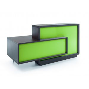Foro Reception Desk, Right-Handed Counter, Lime/Cestnut