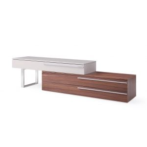 Hudson TV Stand, Walnut + Taupe