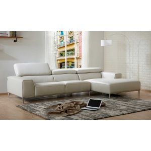 LeCoultre Leather Sectional, Right Hand Chase, Light Grey