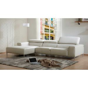 LeCoultre Leather Sectional, Left Hand Chase, Light Grey