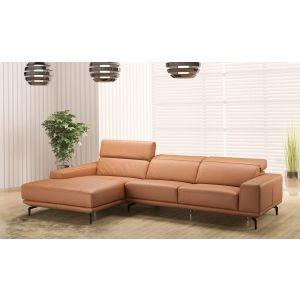 Lima Premium Leather Sectional, Left Hand Chase, Orange
