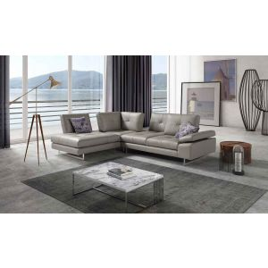 Prive Italian Premium Leather Sectional, Left Hand Chase