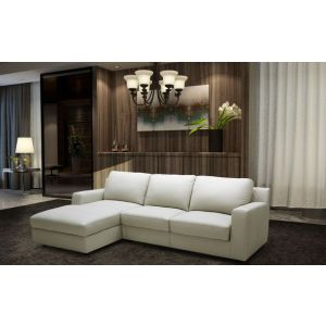 Lauren Premium Leather Sleeper Sectional, Left Hand Chase