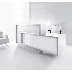 Foro Reception Desk, Left-Handed Counter, White